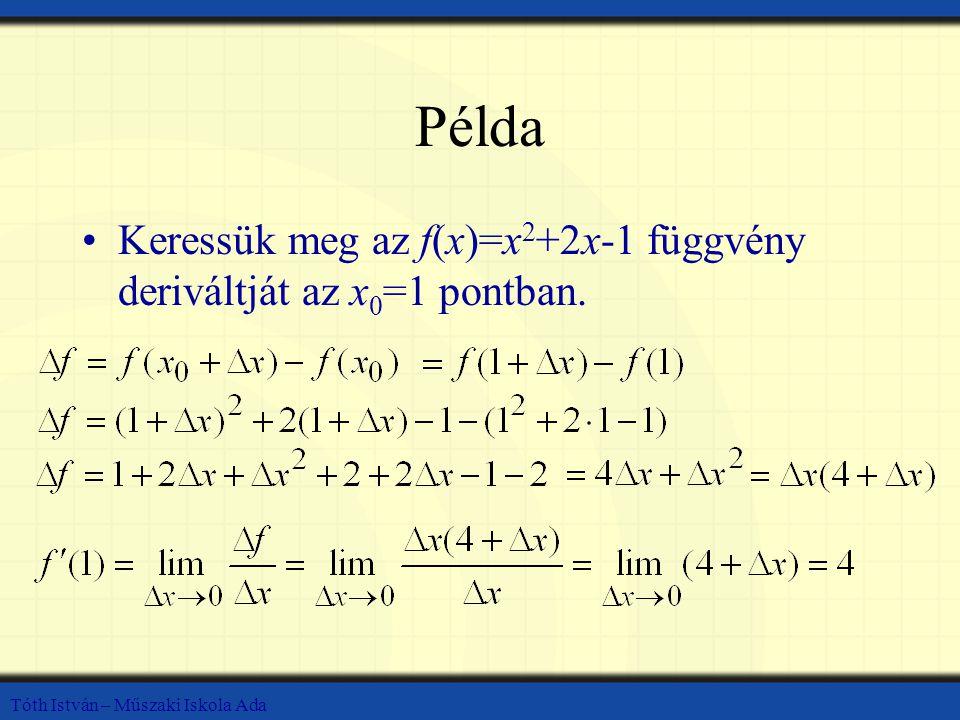Példa Keressük meg az f(x)=x2+2x-1 függvény deriváltját az x0=1 pontban.