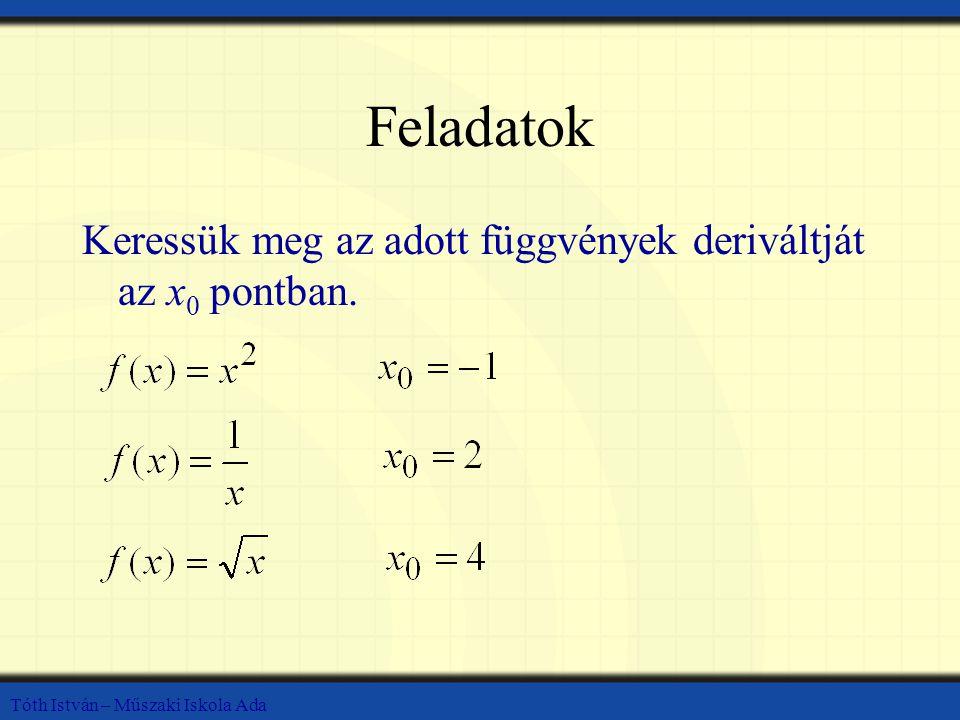 Feladatok Keressük meg az adott függvények deriváltját az x0 pontban.