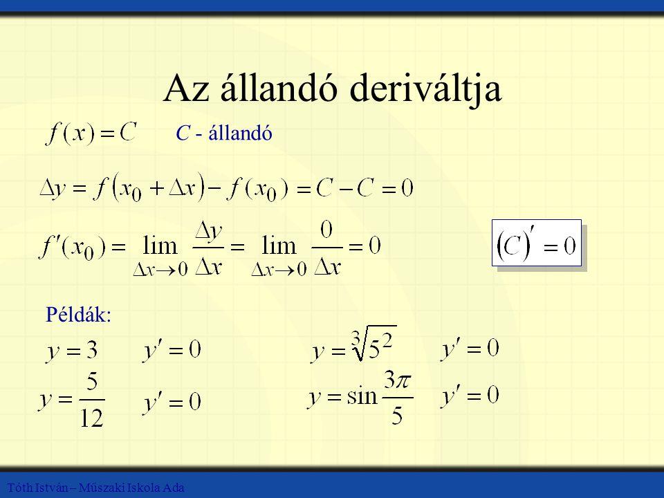 Az állandó deriváltja C - állandó Példák:
