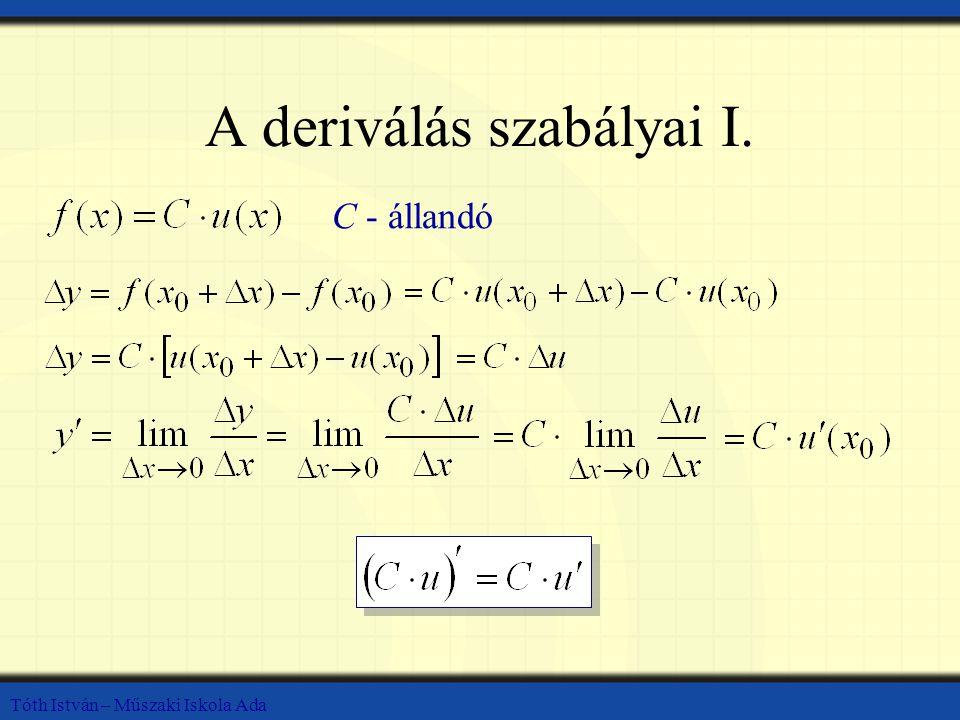 A deriválás szabályai I.