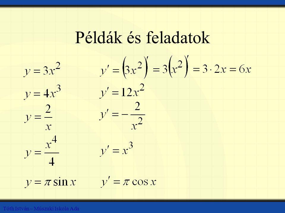 Példák és feladatok Tóth István – Műszaki Iskola Ada