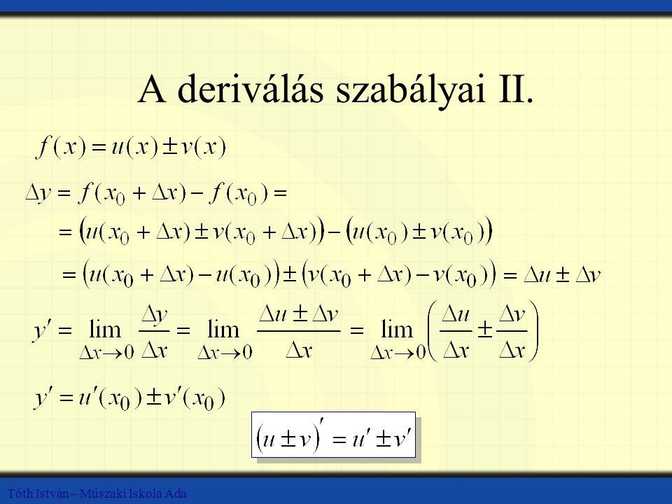 A deriválás szabályai II.
