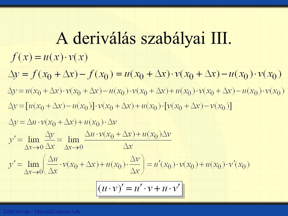 A deriválás szabályai III.