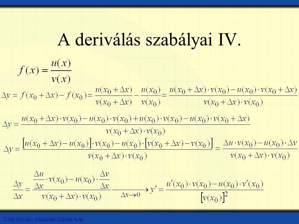 A deriválás szabályai IV.