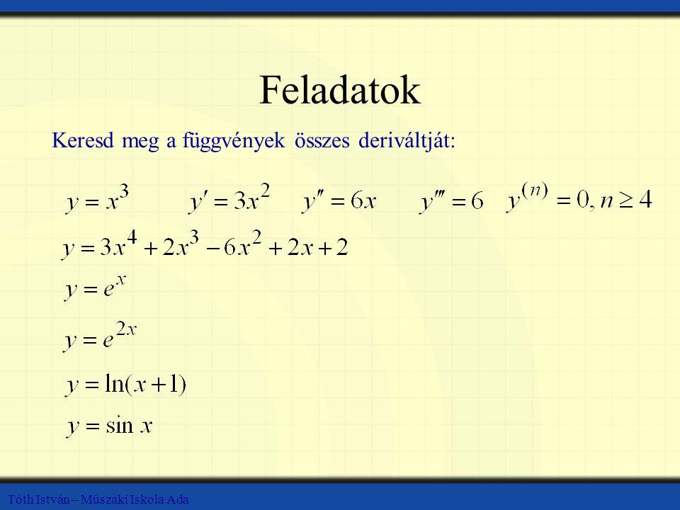 Feladatok Keresd meg a függvények összes deriváltját: