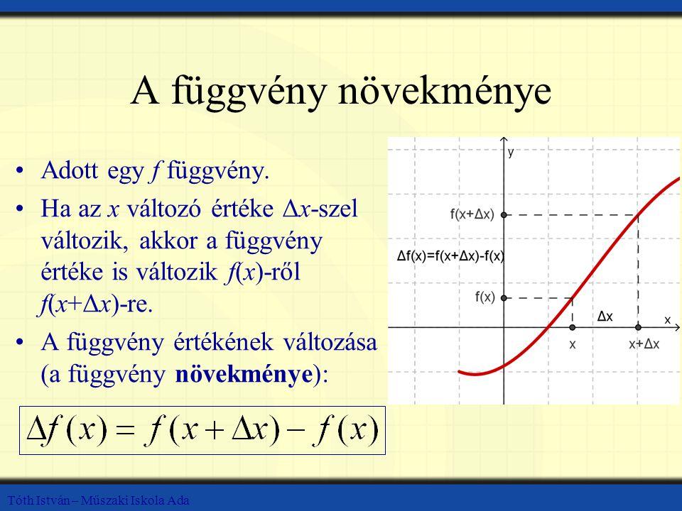 A függvény növekménye Adott egy f függvény.