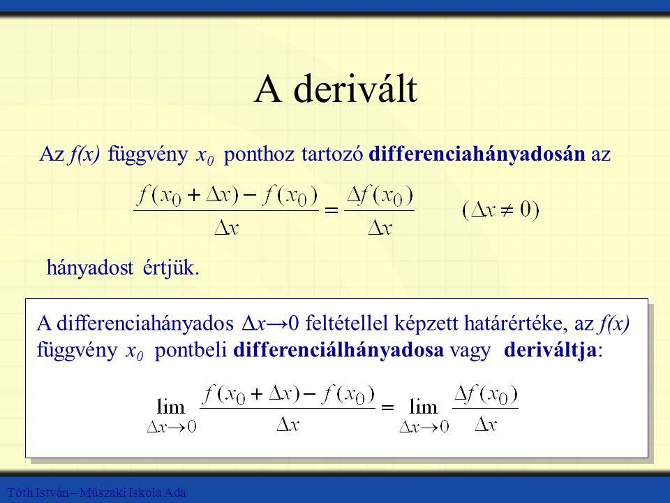 A derivált Az f(x) függvény x0 ponthoz tartozó differenciahányadosán az. hányadost értjük.