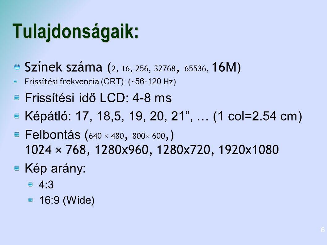 Tulajdonságaik: Színek száma (2, 16, 256, 32768, 65536, 16M)