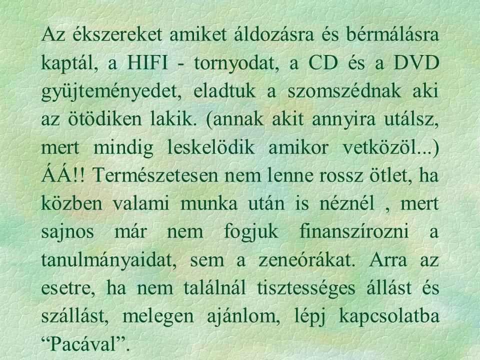 Az ékszereket amiket áldozásra és bérmálásra kaptál, a HIFI - tornyodat, a CD és a DVD gyüjteményedet, eladtuk a szomszédnak aki az ötödiken lakik.