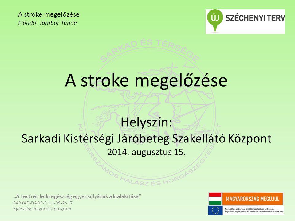 A stroke megelőzése Előadó: Jámbor Tünde. A stroke megelőzése Helyszín: Sarkadi Kistérségi Járóbeteg Szakellátó Központ 2014. augusztus 15.