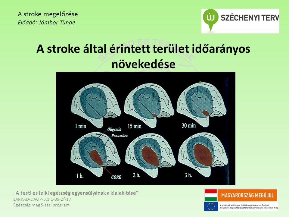 A stroke által érintett terület időarányos növekedése