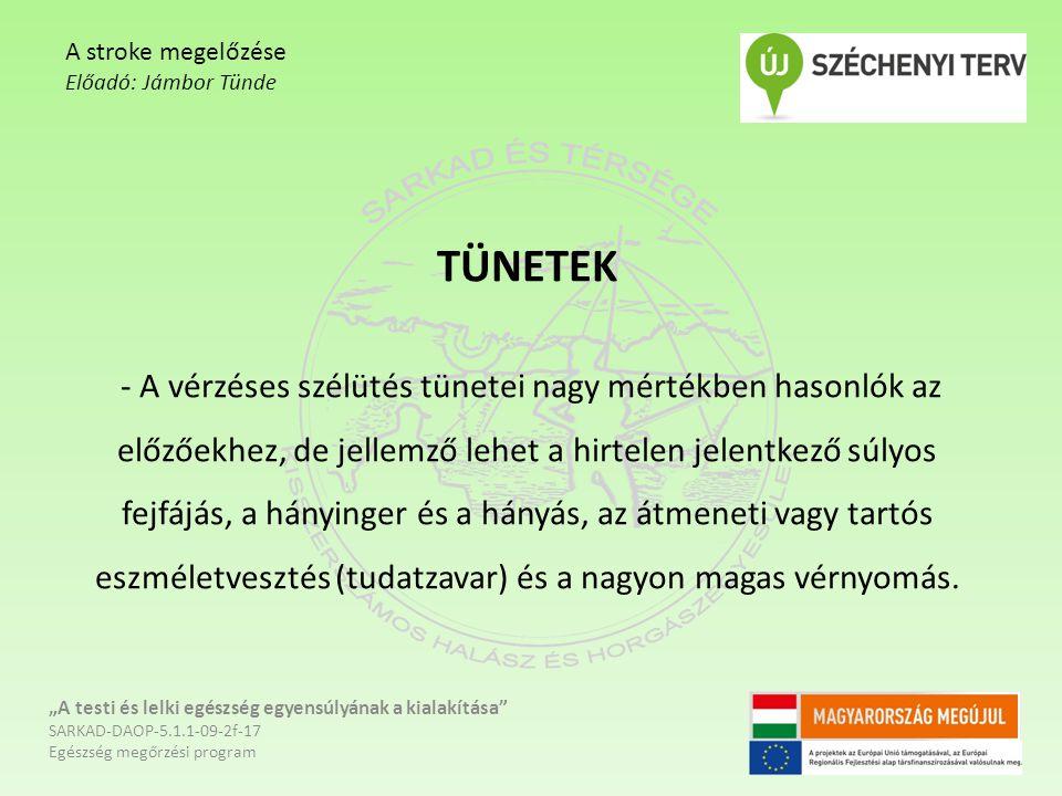 A stroke megelőzése Előadó: Jámbor Tünde.