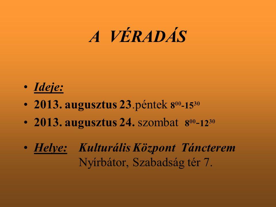 A VÉRADÁS Ideje: 2013. augusztus 23.péntek 800-1530