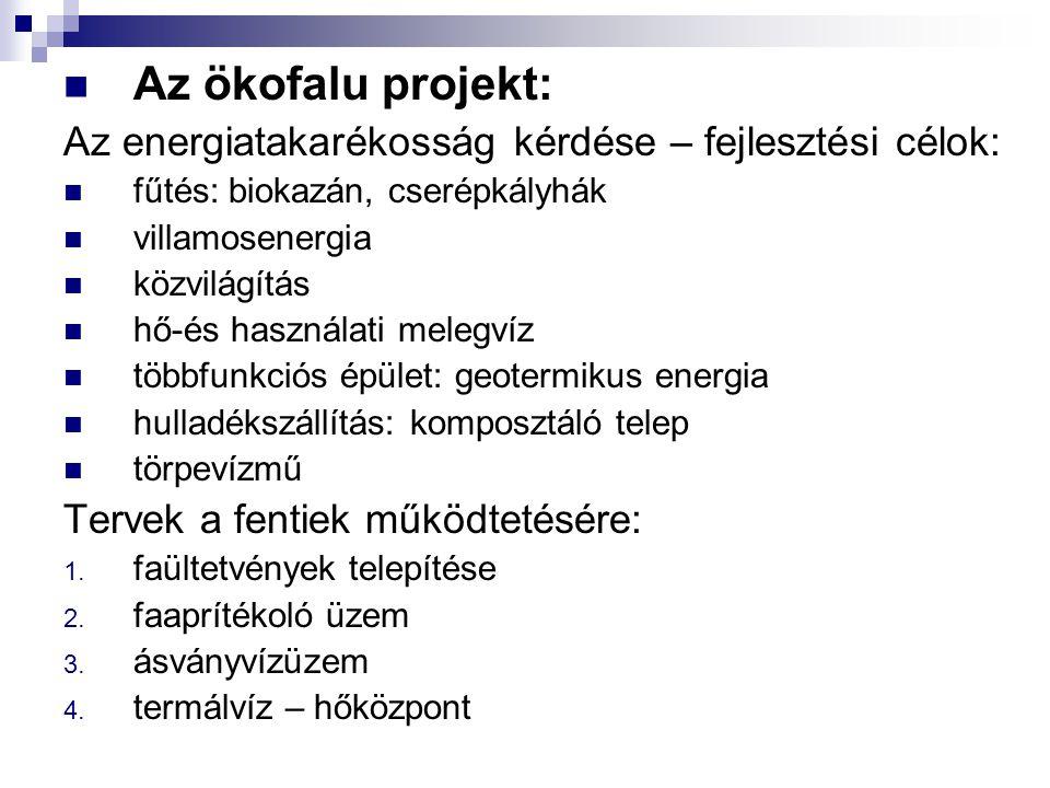 Az ökofalu projekt: Az energiatakarékosság kérdése – fejlesztési célok: fűtés: biokazán, cserépkályhák.
