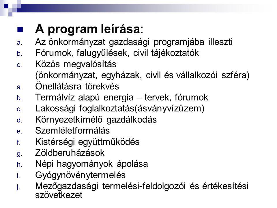 A program leírása: Az önkormányzat gazdasági programjába illeszti