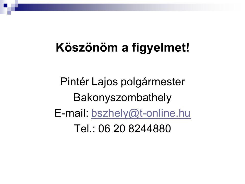 Köszönöm a figyelmet! Pintér Lajos polgármester Bakonyszombathely