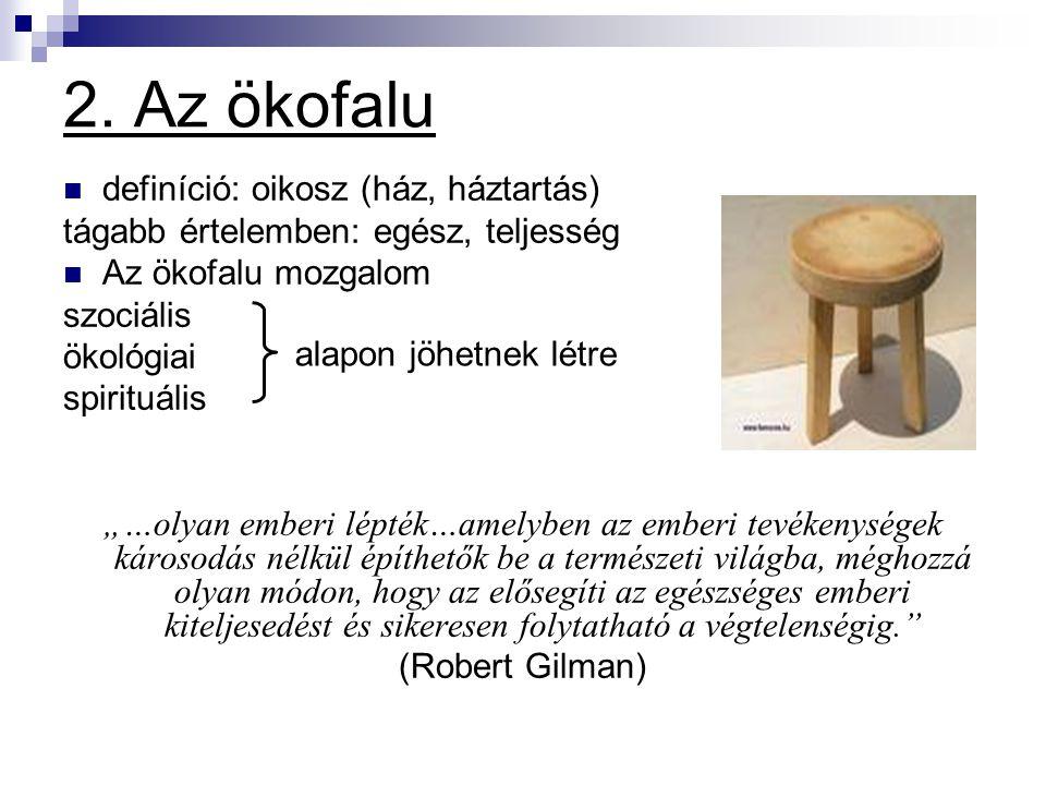 2. Az ökofalu definíció: oikosz (ház, háztartás)