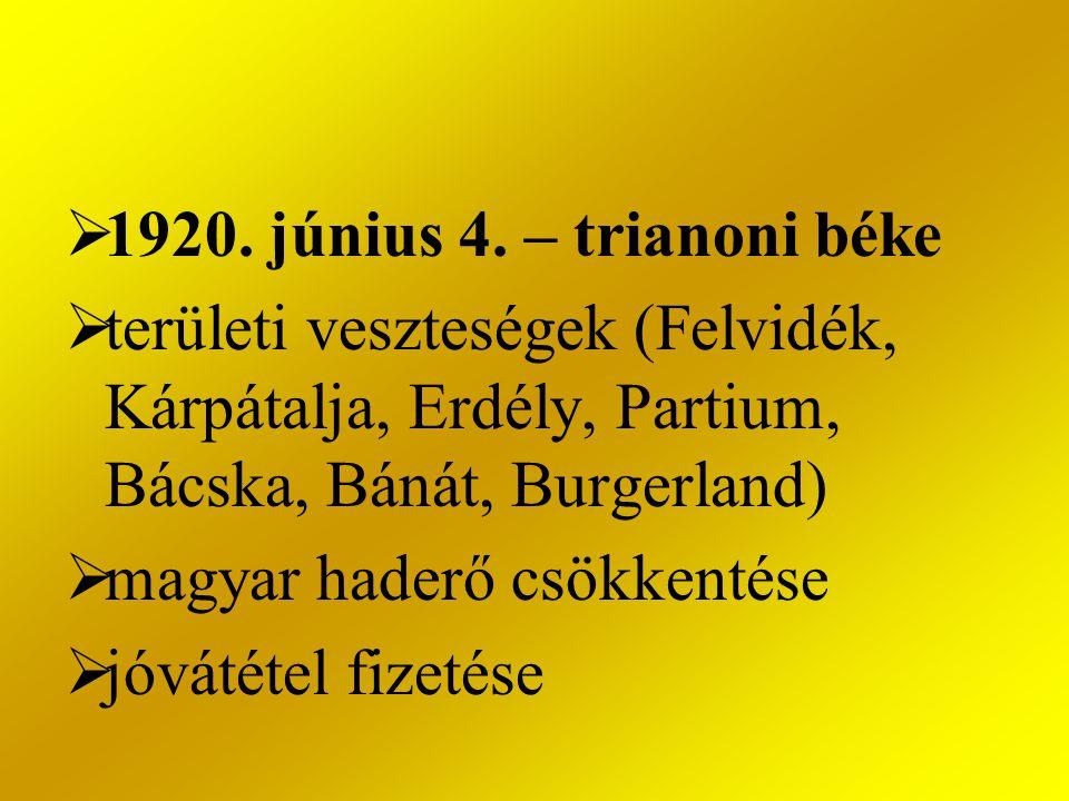 1920. június 4. – trianoni béke területi veszteségek (Felvidék, Kárpátalja, Erdély, Partium, Bácska, Bánát, Burgerland)
