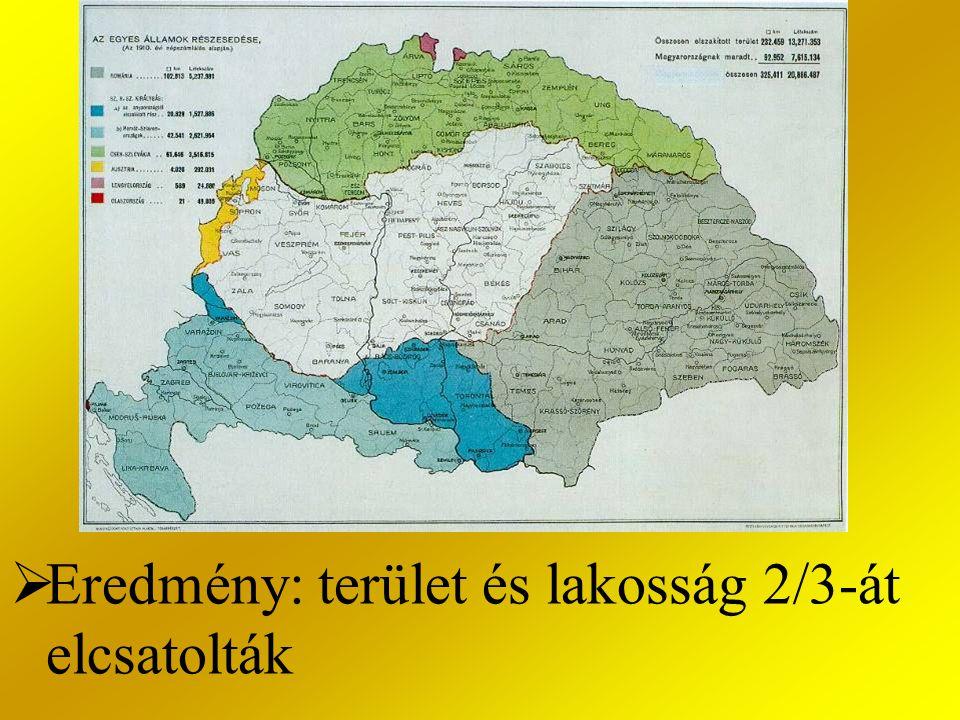 Eredmény: terület és lakosság 2/3-át elcsatolták