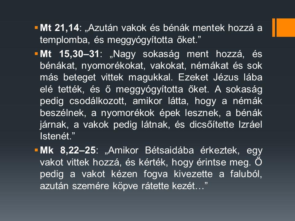 """Mt 21,14: """"Azután vakok és bénák mentek hozzá a templomba, és meggyógyította őket."""
