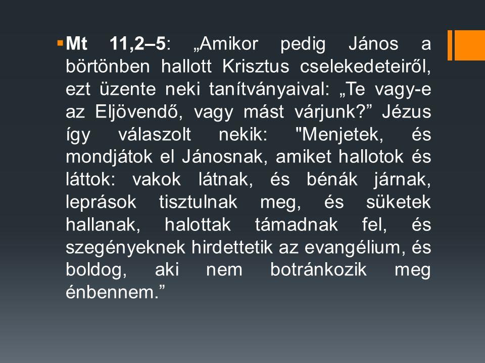 """Mt 11,2–5: """"Amikor pedig János a börtönben hallott Krisztus cselekedeteiről, ezt üzente neki tanítványaival: """"Te vagy-e az Eljövendő, vagy mást várjunk Jézus így válaszolt nekik: Menjetek, és mondjátok el Jánosnak, amiket hallotok és láttok: vakok látnak, és bénák járnak, leprások tisztulnak meg, és süketek hallanak, halottak támadnak fel, és szegényeknek hirdettetik az evangélium, és boldog, aki nem botránkozik meg énbennem."""