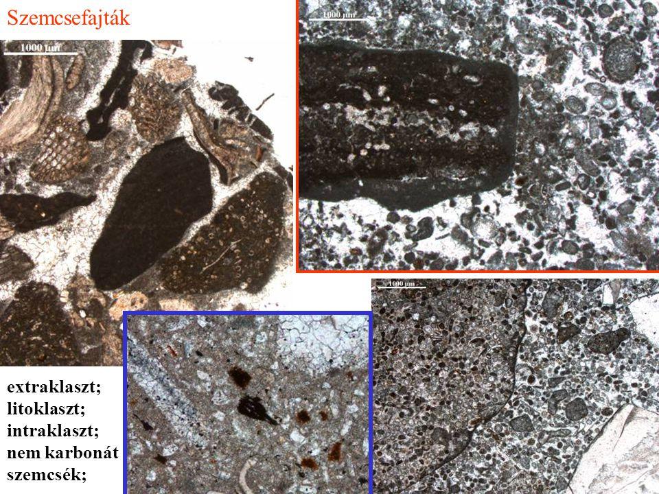 Szemcsefajták extraklaszt; litoklaszt; intraklaszt; nem karbonát