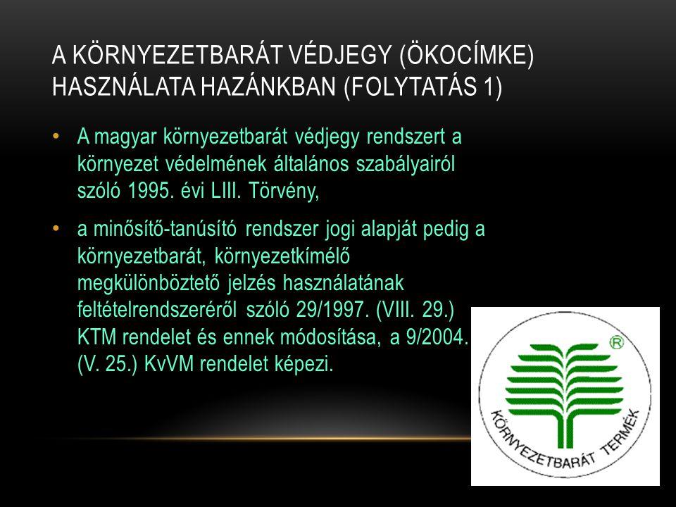 A környezetbarát védjegy (ökocímke) használata hazánkban (folytatás 1)