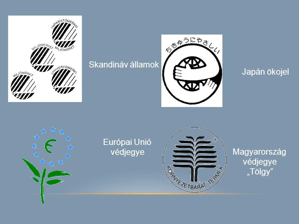 """Skandináv államok Japán ökojel Európai Unió védjegye Magyarország védjegye """"Tölgy"""