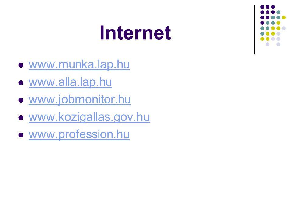 Internet www.munka.lap.hu www.alla.lap.hu www.jobmonitor.hu