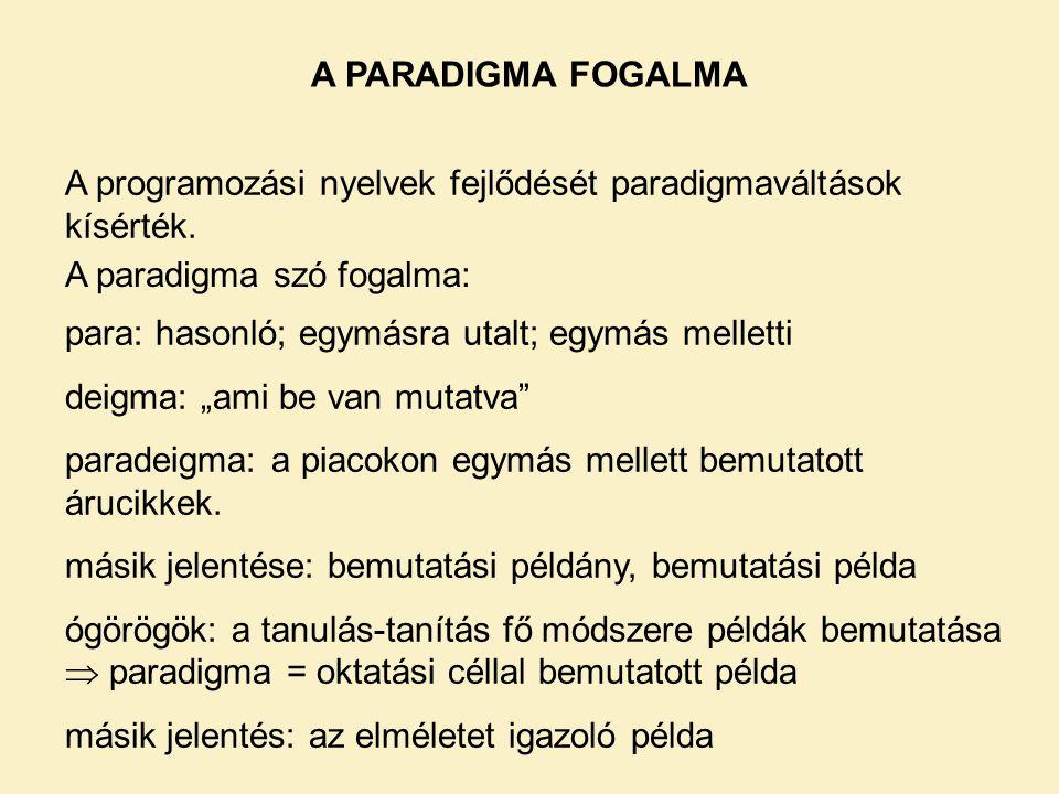 A PARADIGMA FOGALMA A programozási nyelvek fejlődését paradigmaváltások kísérték. A paradigma szó fogalma: