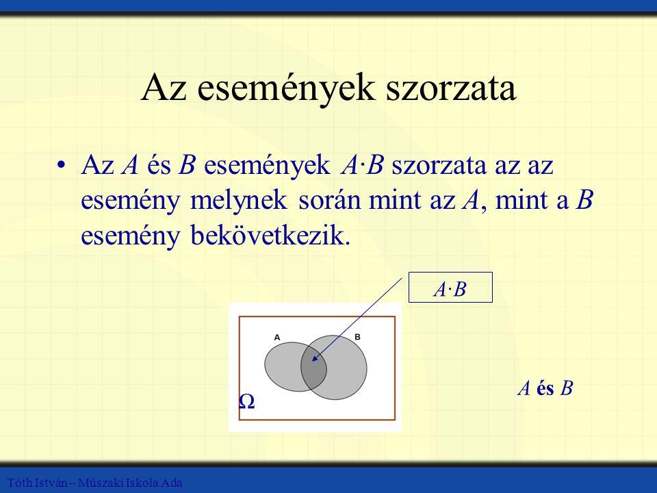 Az események szorzata Az A és B események A·B szorzata az az esemény melynek során mint az A, mint a B esemény bekövetkezik.