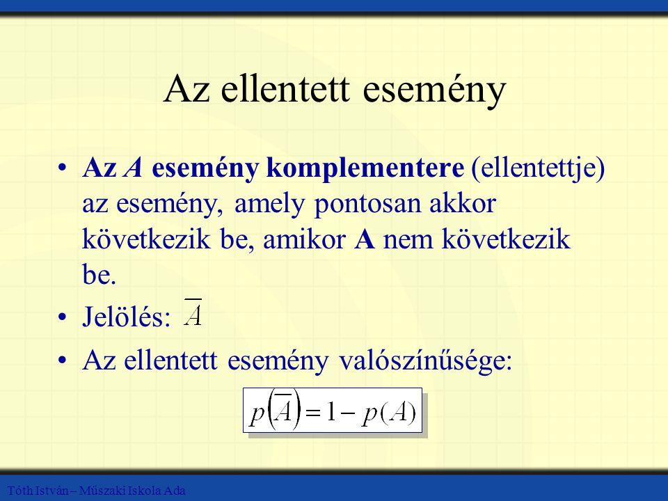 Az ellentett esemény Az A esemény komplementere (ellentettje) az esemény, amely pontosan akkor következik be, amikor A nem következik be.