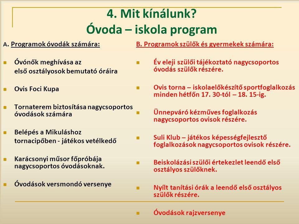 4. Mit kínálunk Óvoda – iskola program