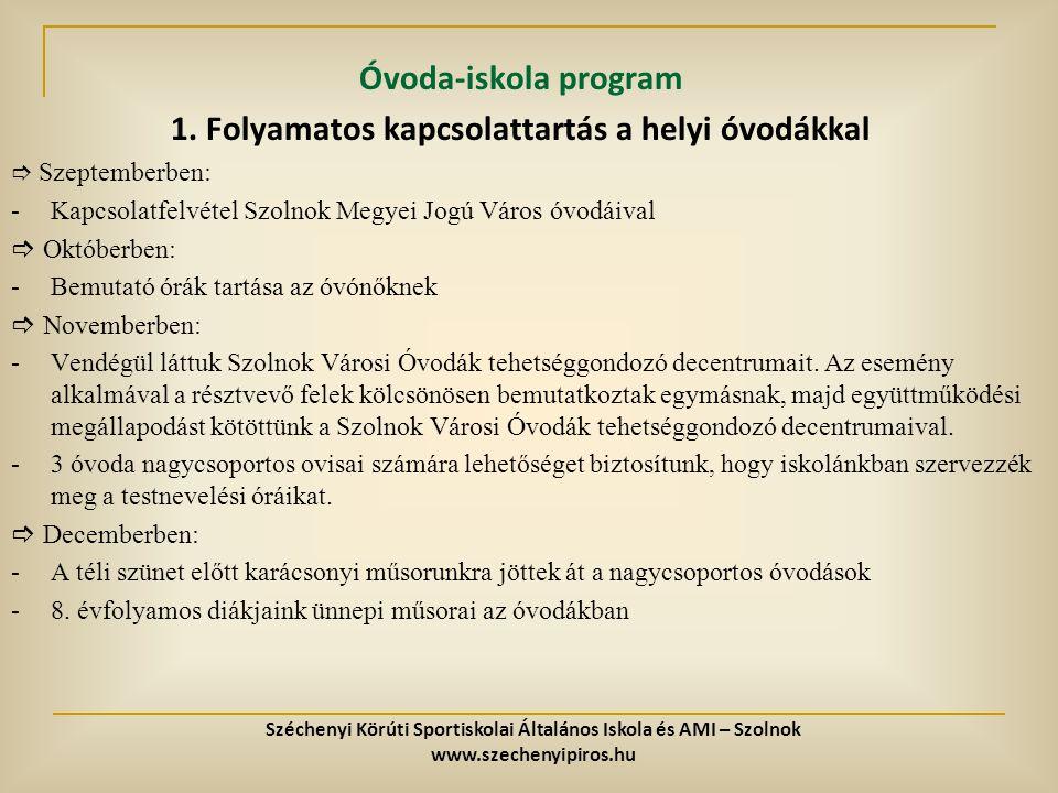 Óvoda-iskola program 1. Folyamatos kapcsolattartás a helyi óvodákkal