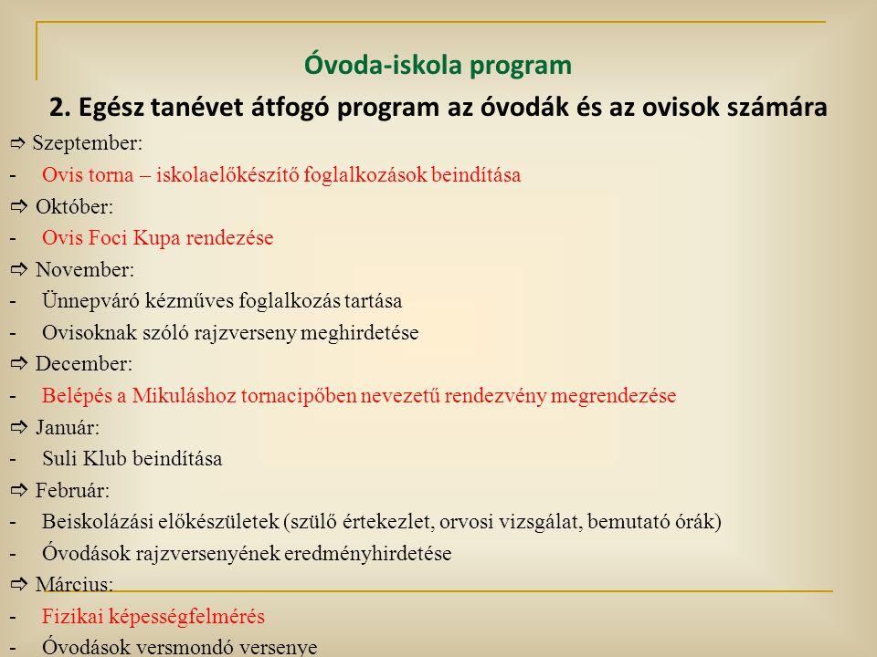 2. Egész tanévet átfogó program az óvodák és az ovisok számára