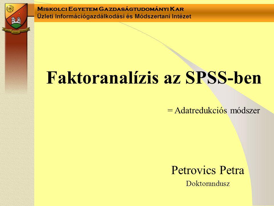 Faktoranalízis az SPSS-ben