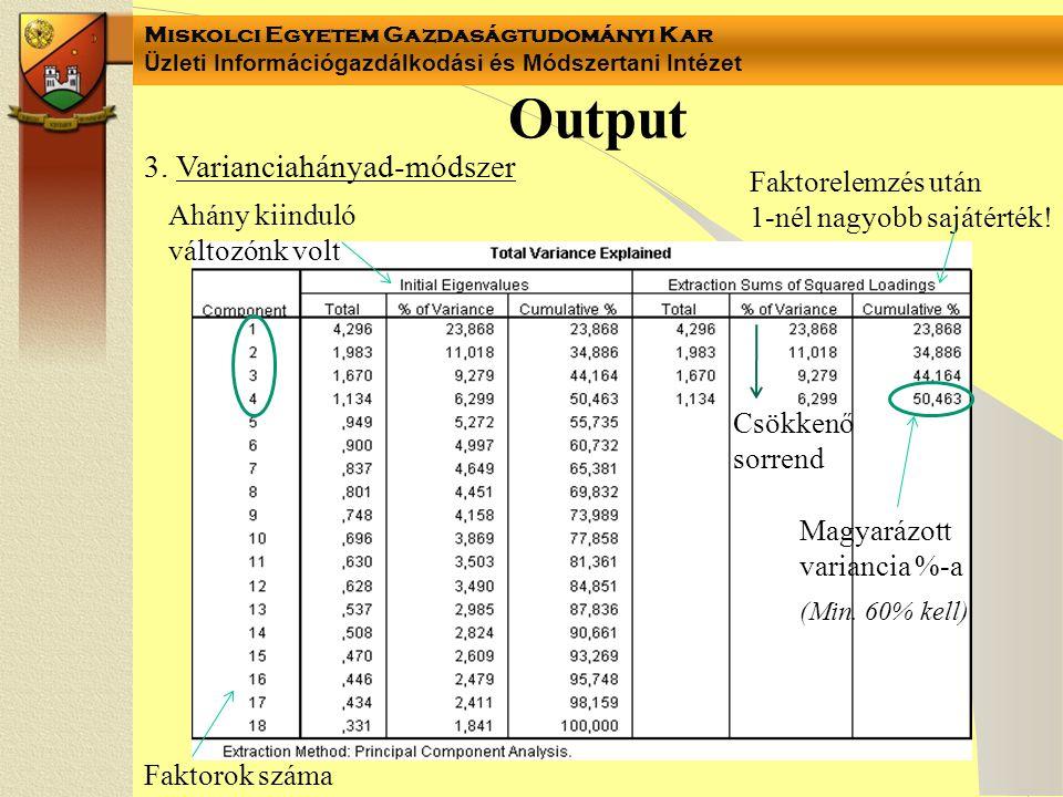 Output 3. Varianciahányad-módszer Faktorelemzés után