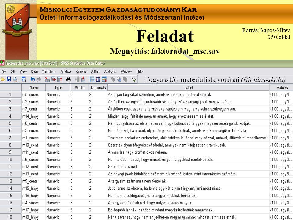 Feladat Megnyitás: faktoradat_msc.sav