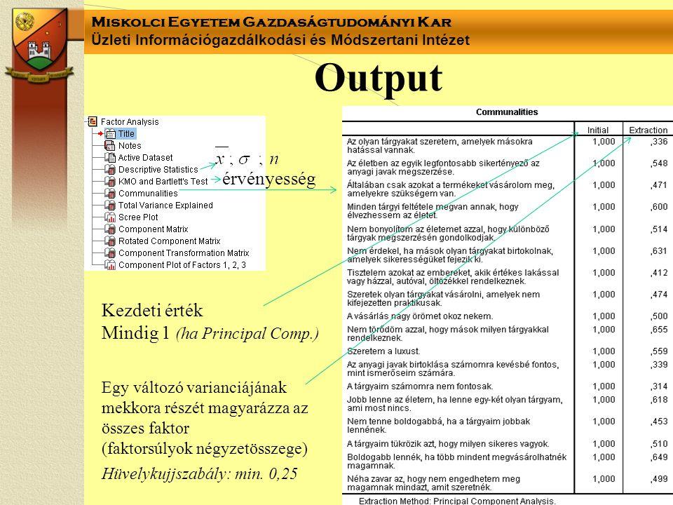 Output érvényesség Kezdeti érték Mindig 1 (ha Principal Comp.)