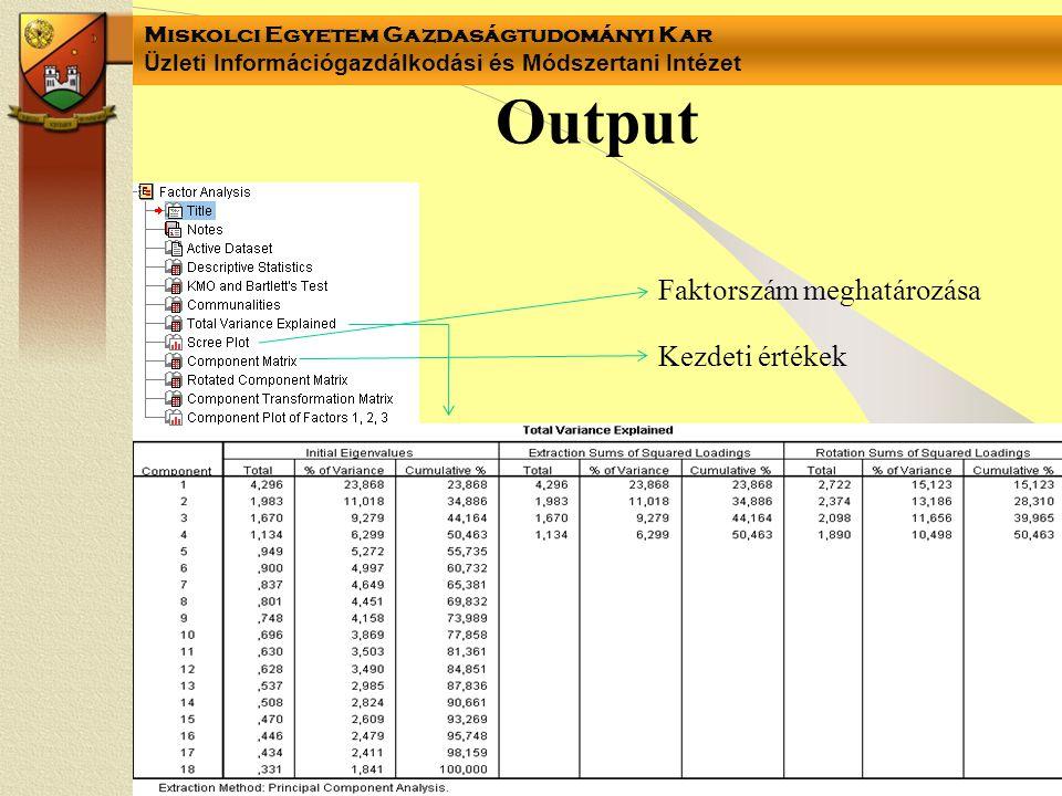 Output Faktorszám meghatározása Kezdeti értékek