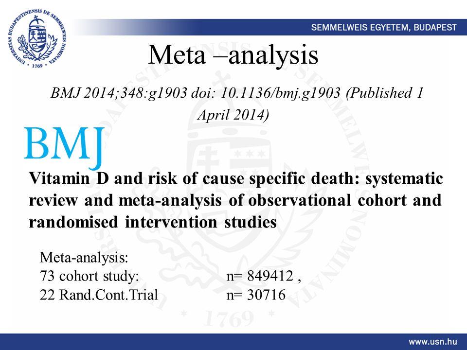 Meta –analysis BMJ 2014;348:g1903 doi: 10. 1136/bmj