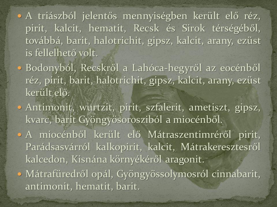 A triászból jelentős mennyiségben került elő réz, pirit, kalcit, hematit, Recsk és Sirok térségéből, továbbá, barit, halotrichit, gipsz, kalcit, arany, ezüst is fellelhető volt.