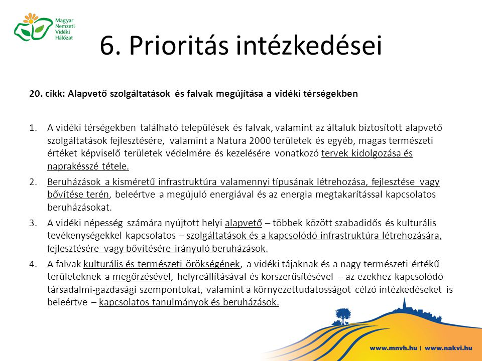 6. Prioritás intézkedései