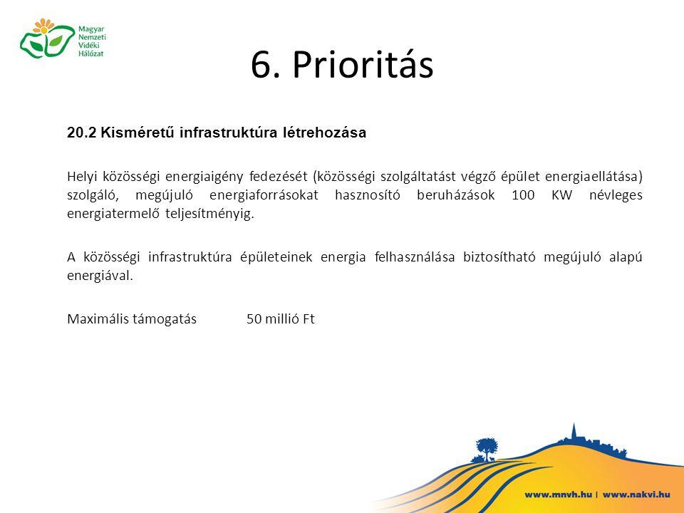 6. Prioritás 20.2 Kisméretű infrastruktúra létrehozása
