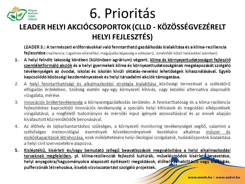 6. Prioritás LEADER HELYI AKCIÓCSOPORTOK (CLLD - KÖZÖSSÉGVEZÉRELT HELYI FEJLESZTÉS)