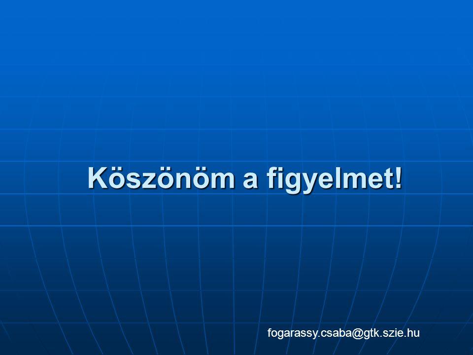 Köszönöm a figyelmet! fogarassy.csaba@gtk.szie.hu