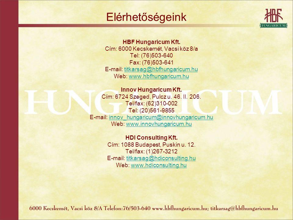 Elérhetőségeink HBF Hungaricum Kft. Cím: 6000 Kecskemét, Vacsi köz 8/a