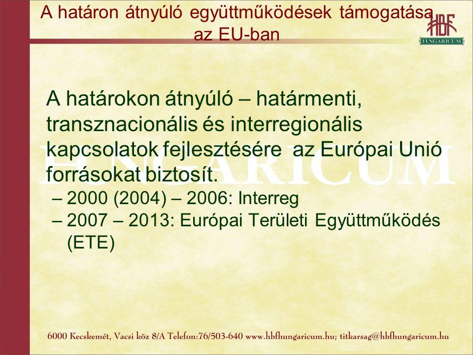 A határon átnyúló együttműködések támogatása az EU-ban