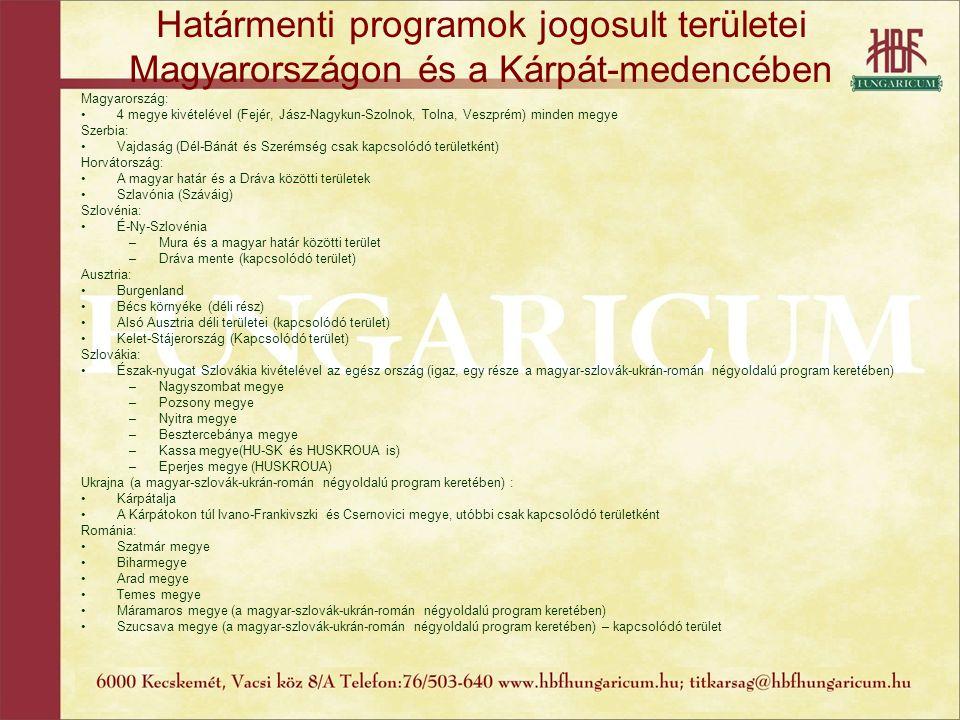Határmenti programok jogosult területei Magyarországon és a Kárpát-medencében