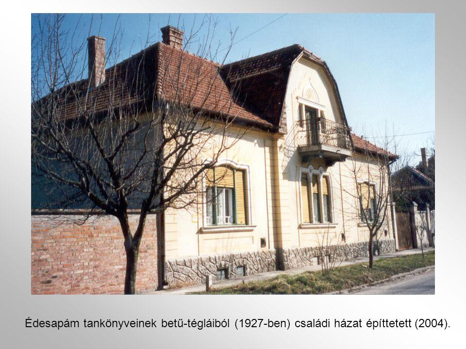 Édesapám tankönyveinek betű-tégláiból (1927-ben) családi házat építtetett (2004).